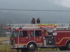 Salmon Arm Parade on firetruck with Salmon Arm Mayor! Photo by: 91.5 EZ Rock Salmon Arm