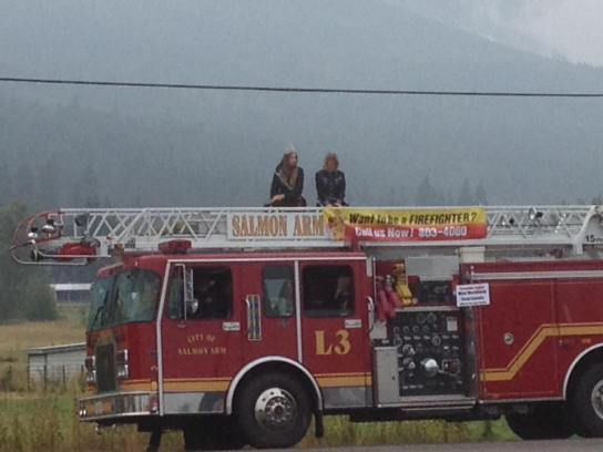 Salmon Arm Parade on firetruck with Salmon Arm Mayor! Photo by: 91.5 EZ Rock Salmon Arm